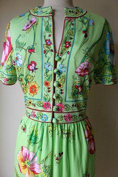 Vintage 1970's Maurice Flower Print Dress by VintageRosemond, $110.00