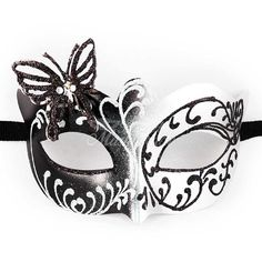 Masquerade Mask Masquerade Mask Butterfly Mask silver/black Mask... ($12) ❤ liked on Polyvore featuring home, home decor, mask, accessories, home & living, home décor, ornaments & accents, silver, silver home accessories and black home decor