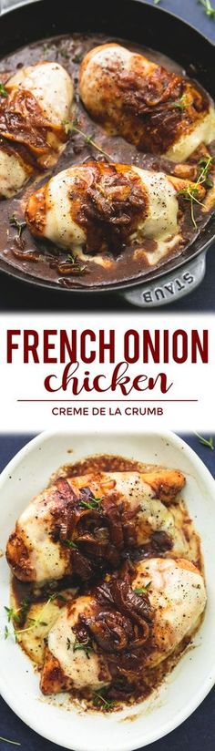 Fench Onion Chicken Skillet - juicy chicken smothered in caramelized onion gravy, with melty provolone, Swiss, and parmesan cheeses!   lecremedelacrumb.com