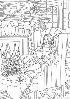 Cozy Evening – Printable Adult Coloring Page from Favoreads (Coloring book pages for adults and kids, Coloring sheets, Coloring designs) – Most Comfortable Things Free Adult Coloring, Printable Adult Coloring Pages, Coloring Book Pages, Coloring Sheets, Kids Coloring, Fantasy Girl, Mandala Art, How To Draw Hands, Drawings