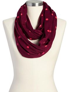 Women's Polka-Dot Jersey Infinity Scarves Product Image