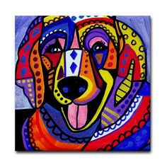 Golden Retriever art Tile Ceramic Coaster Mexican Folk Art Print of painting by Heather Galler dog