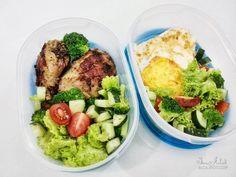 Bekal ke kantor (Atkins menu) : Egg Sardine Roll & Grill Lamb