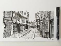 The Shambles York. #art #drawing #pen #sketch #illustration #commission #york #theshambles #architecture #street #england