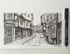 The Shambles York. #art #drawing #pen #sketch #illustration #commission #york #theshambles #architecture #street #england