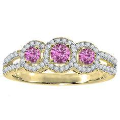 Elora 14k Gold 1/2 ct. Round Sapphire & White Diamond 3 Stone Engagement Bridal Ring