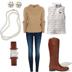 cozy fall outfit: pearls + burberry sweater + patagonia vest + frye boots + hermes watch