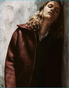 Ryan Keating dons a knit jacket from Orley for Interview magazine.