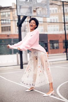 Model Ebonee Davis Talks Racism and Representation in Fashion: It was our absolute pleasure to spend an afternoon with her, dressing her in the colors of the season, and hearing all about what makes Ebonee, Ebonee. -- Pink sweater and sheer skirt.  | Coveteur.com