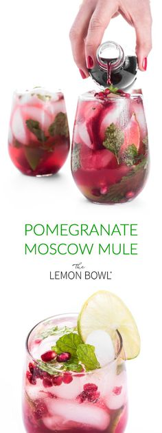 Pomegranate Moscow Mule: This light and refreshing gin cocktail is sweetened with pomegranate juice and spicy ginger beer. The ultimate crowd-pleasing cocktail recipe for entertaining! Cocktails Pomegranate Moscow Mule - The Lemon Bowl® Cocktail Drinks, Fun Drinks, Yummy Drinks, Cocktail Movie, Cocktail Sauce, Cocktail Attire, Cocktail Shaker, Vodka Cocktails, Beverages