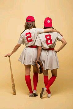 halloween costumes women DIY Halloween Costumes Ideas - A League of Their Own Movie Characters Womens Baseball Costumes Tutorial via Camille Styles Baseball Costumes, Best Friend Halloween Costumes, Cute Costumes, Halloween Outfits, Group Costumes, Halloween Halloween, Woman Costumes, Bricolage Halloween, Women Halloween