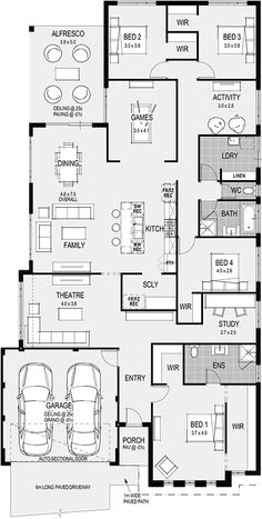 Plan siena - my edit - remove study, rotate bed 4 and create hallway to oth 4 Bedroom House Plans, Family House Plans, Best House Plans, Dream House Plans, House Floor Plans, My Dream Home, The Plan, How To Plan, Home Design Floor Plans
