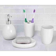 Home Basics White Ceramic Bathroom Accessory Set