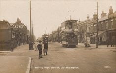 Postcard Southampton Hampshire trams in Shirley High Street RP early Rood Bros