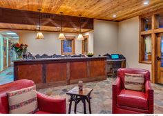 The Front Desk/ Lobby Area Awaiting your arrival! Lodge Look, Heated Pool, Cozy Cottage, Blue Walls, Front Desk, Rustic, Room, Furniture, Ideas