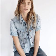 be33367b1f madewell jean vest worn with the chambray courier shirt + rivet   thread  slim boyjean on our spring muse constance jablonski.