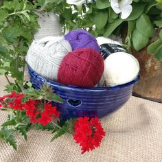 Cobalt blue Yarn bowl with heart shaped holes. This one you can also use as an fruit bowl.Hand made in Finland. by JariSalminen on Etsy