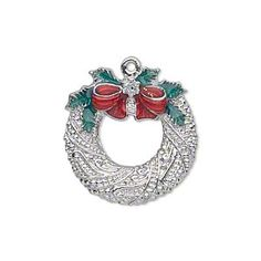 """Charm, silver-finished """"pewter"""" (zinc-based alloy) and enamel, red and green, 23x22mm single-sided fancy wreath with bow, holly leaves and glitter. Sold individually."""