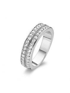 Ti Sento Two Row Cubic Zirconia Channel Set Band Ring - Size Swarovski Ornaments, Swarovski Crystals, Zirconia Rings, Pandora Jewelry, Band Rings, Bracelets, Rings For Men, Fine Jewelry, Gems
