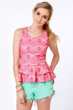 $28 ~ Under Skies, You be Frillin' Hot Pink Lace Top