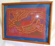 Kuna Mola Frame Orange Ornithology Large Bird Vintage Folk Art Needlework Panama