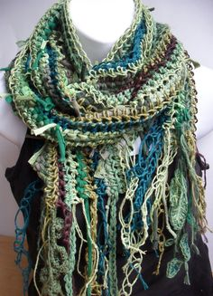Mossy Forest Dweller Vegan Gypsy Scarf in by TheArtofZenCrochet