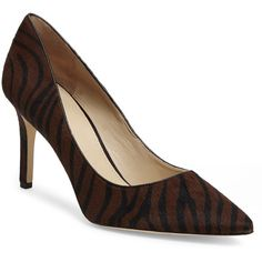 VIA SPIGA Zebra-Printed Carola II Real Calf Hair Pumps (160 NZD) ❤ liked on Polyvore featuring shoes, pumps, blacks, black pointy-toe pumps, black shoes, zebra high heel shoes, via spiga pumps and black calf hair pumps