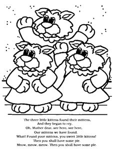 Three Little Kittens - 4 coloring pages, could work for flannel board ...