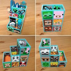 Minecraft pencil holder perler beads by shena_1983