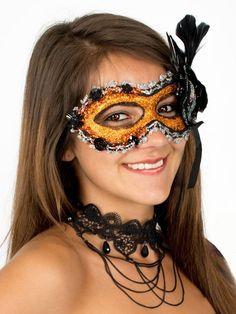 Dominoaugenmaske mit Federn orange-gold Venezianische Maske Karnevalmaske