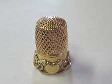 SCALLOPED EDGED  SIMONS BROS. CO. GOLD-PLATED STERLING SILVER THIMBLE (#9)