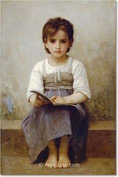 William Adolphe Bouguereau The Difficult Lesson Riproduzione a olio, qualità museale