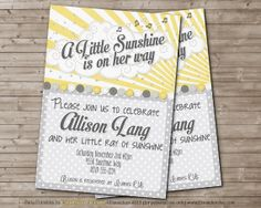Printable LITTLE SUNSHINE Baby Shower Invitation for by DandeAve, $10.00