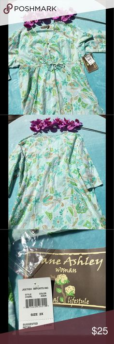 🌺🌸Dress/Beach Coverup🌸🌺 Adorable lightweight dress that could also be used as a swimsuit cover up.  100% cotton with a drawstring waist.  Perfect condition! Jane Ashley Dresses Mini