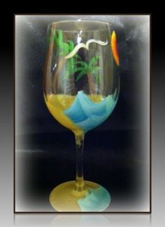 Island Dreams 12 oz hand painted Kiss My Glass wine glass original. Beautiful beach scene will have you relaxing and dreaming of the islands. A great gift under $25