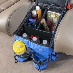 Great idea for road trips with kids! This is the High Road Kids Food 'n Fun. Great idea for road trips with kids! This is the High Road Kids Food 'n Fun Car Seat Organizer -- includes a Cool