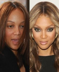 Celebs Without Makeup (You Know You Can't Resist) Wrinkles, puffy eyes, pimples, ratty hair and all -- there's something so satisfying about seeing stars without their makeup Homecoming Makeup, Prom Makeup, Hair Makeup, Eye Makeup, Tyra Banks Makeup, Tyra Banks Hair, Celebrity Makeup Transformation, Amazing Makeup Transformation, Beauty Secrets