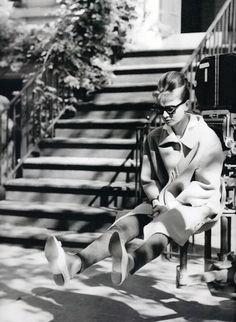 Audrey Hepburn on the set of Breakfast at Tiffany's.