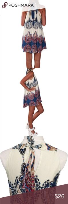 Boho Paisley Trendy Halter Shift Dress Boho tribal print halter ! Cute Paisley pattern! Sophisticated and classy chic! Perfect for summer pool parties! Dresses Mini