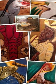 """Luis Perez builds his """"canvas"""" out of salvaged wood, carves out his designs, then paints them. They are wonderful! We have egrets, alligators, blue herons, crawfish, crabs, and zydeco musicians!"""