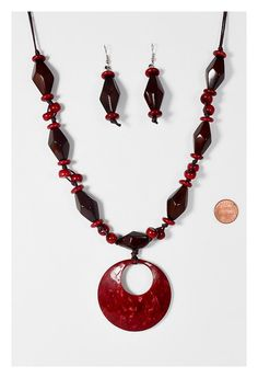 Organic Glossy Handmade Necklace and Earrings Set Large by Flairia, $23.99