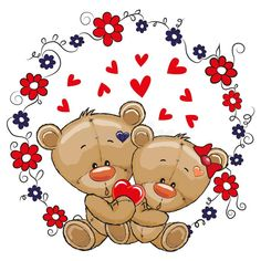 Two Cute Bears. Two cute cartoon Bears on a flowers background stock illustration Cute Disney Drawings, Cute Drawings, Bear Cartoon, Cute Cartoon, Background Heart, Sunflower Coloring Pages, Cartoon Mignon, Baby Shower Giraffe, Teddy Bear Pictures