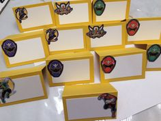 Power Rangers place cards party handmade in USA embellished cards food cards new 12 cards Super Megaforce