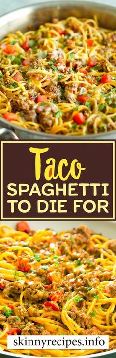 Taco Spaghetti To Die For flatas recipe; - Taco Spaghetti To Die For flatas recipe; Pasta Recipes, Beef Recipes, Mexican Food Recipes, Cooking Recipes, Healthy Recipes, Recipies, Healthy Snacks, Spaghetti Recipes, Bariatric Recipes