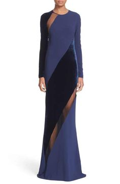 Stella McCartney Sheer Panel & Velvet Gown