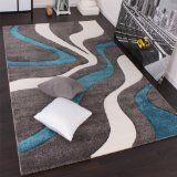 Designer Teppich mit Konturenschnitt Modern Grau Türkis Weiss Grösse:160230 cm