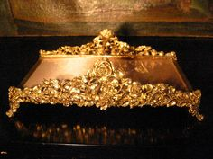 sold - Brass Art Deco Footed Vanity Tray With Roses – Designer Unique Finds