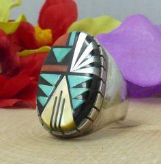 D & V Eriacho Zuni Sterling Silver & Multistone Mosaic Inlay Ring; Sz 10.25!! #DonViolaEriacho