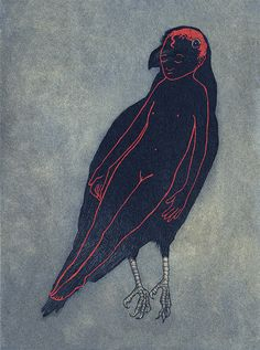 'I Feel All Wrong, I Don't Understand' (2012) by American artist & author Audrey Niffenegger. Aquatint on Sakamoto paper. via the artist's site