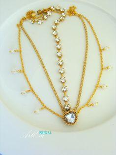 Gold chain hair piece bridal hair jewelry head by ArtEraBridal